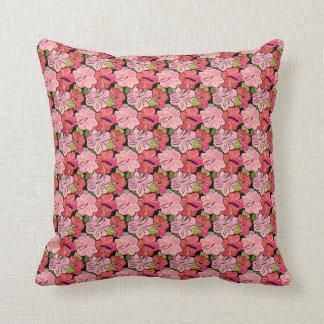 Modelo rosado del hibisco cojín decorativo