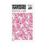 modelo rosado del kawaii sellos postales