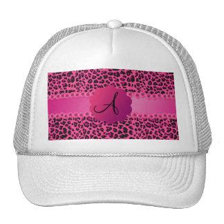 Modelo rosado del leopardo del monograma gorra