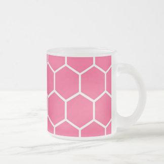 Modelo rosado del panal taza cristal mate