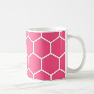 Modelo rosado del panal taza básica blanca