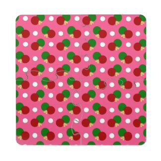 Modelo rosado del ping-pong posavasos de puzzle