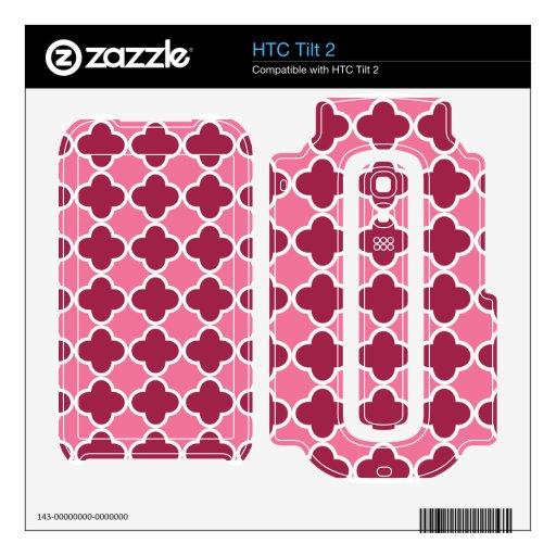 Modelo rosado del quatrefoil skins para elHTC tilt 2