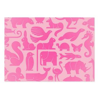 Modelo rosado del reino animal tarjetas de visita grandes