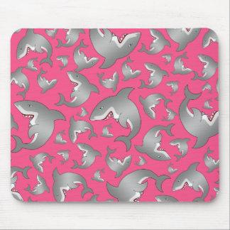 Modelo rosado del tiburón mouse pads