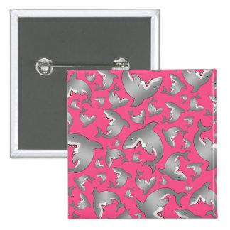 Modelo rosado del tiburón pin cuadrada 5 cm