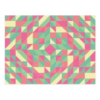 Modelo rosado del triángulo de la turquesa tarjeta postal
