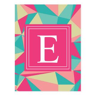 Modelo rosado del triángulo del monograma de la tarjetas postales