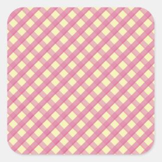Modelo rosado del vintage de la guinga colcomanias cuadradas personalizadas