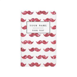 Modelo rosado divertido del bigote del brillo cuaderno