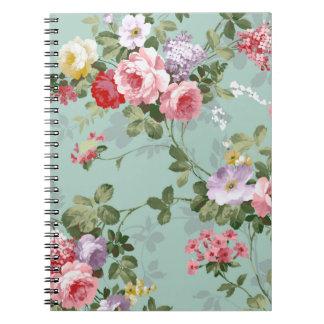 Modelo rosado elegante de los rosas del vintage libreta espiral