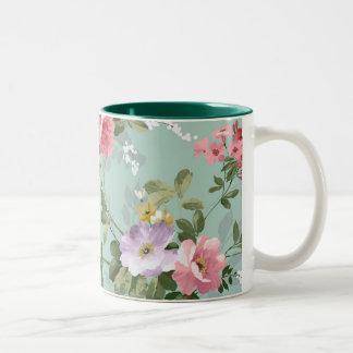 Modelo rosado elegante de los rosas del vintage taza de café