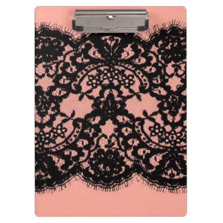 modelo rosado elegante del cordón del negro del