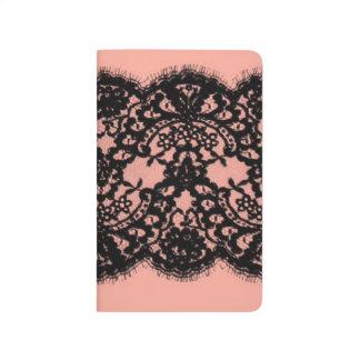 modelo rosado elegante del cordón del negro del cuadernos