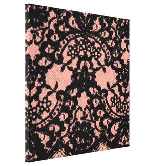 modelo rosado elegante del cordón del negro del impresiones en lona