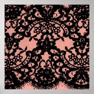 modelo rosado elegante del cordón del negro del poster