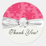 modelo rosado elegante del damasco de dos tonos etiqueta