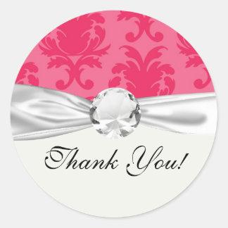modelo rosado elegante del damasco de dos tonos pegatina redonda