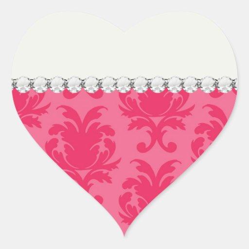 modelo rosado elegante del damasco de dos tonos pegatina en forma de corazón