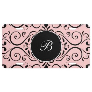 Modelo rosado elegante del damasco del monograma placa de matrícula