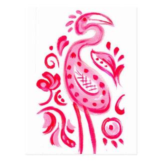Modelo rosado enrrollado de Flamigo Paisley Tarjeta Postal