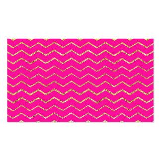 modelo rosado feliz del brillo del oro del zigzag  tarjeta de negocio