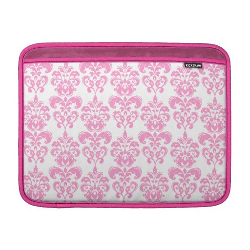 Modelo rosado femenino 2 del damasco del vintage fundas MacBook
