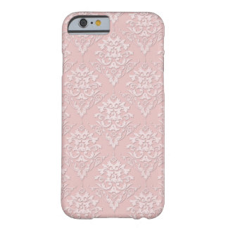 Modelo rosado femenino bonito del damasco funda de iPhone 6 barely there