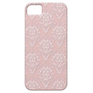 Modelo rosado femenino bonito del damasco iPhone 5 carcasas