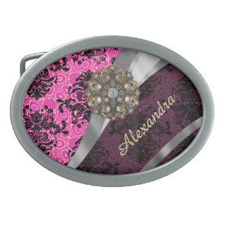 Modelo rosado femenino bonito personalizado del hebilla cinturón oval