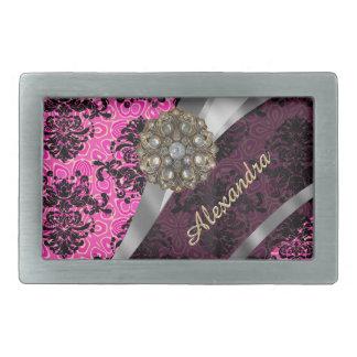 Modelo rosado femenino bonito personalizado del hebillas cinturon rectangulares