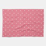 Modelo rosado femenino de los corazones del pollue toallas de cocina