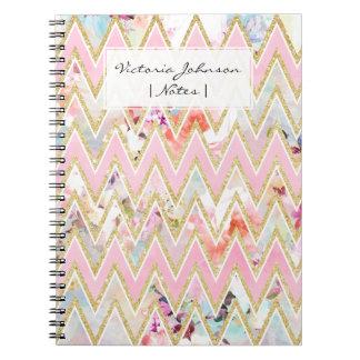 Modelo rosado floral del galón del oro de la spiral notebooks