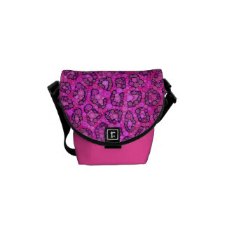 Modelo rosado fluorescente del guepardo bolsas de mensajeria