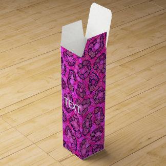Modelo rosado fluorescente del guepardo caja para botella de vino