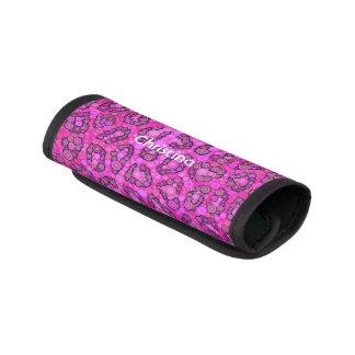 Modelo rosado fluorescente del guepardo funda para asa de maleta