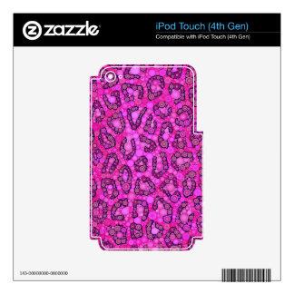 Modelo rosado fluorescente del guepardo iPod touch 4G skins