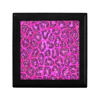 Modelo rosado fluorescente del guepardo joyero cuadrado pequeño