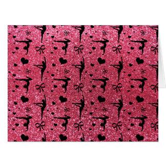 Modelo rosado fucsia del brillo de la gimnasia tarjeta de felicitación grande