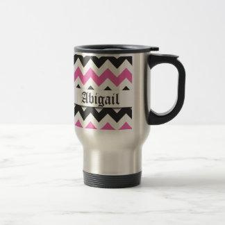 Modelo rosado gris de Chevron de la mariposa elega Tazas De Café