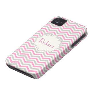 Modelo rosado, gris, de marfil moderno del galón Case-Mate iPhone 4 protector