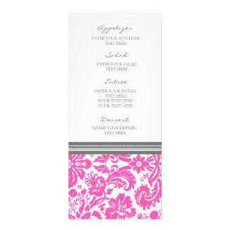 """Modelo rosado gris del damasco del menú del boda folleto publicitario 4"""" x 9"""""""
