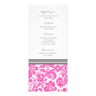 Modelo rosado gris del damasco del menú del boda lonas publicitarias