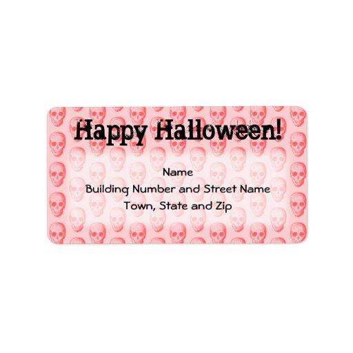 Modelo rosado Halloween del cráneo Etiquetas De Dirección