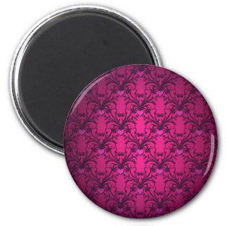 Modelo rosado intenso del damasco de los corazones imán redondo 5 cm