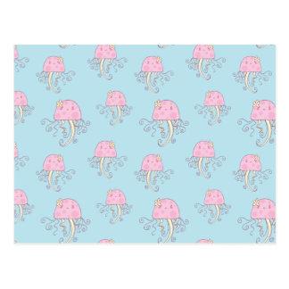 Modelo rosado lindo de las medusas del dibujo anim postales