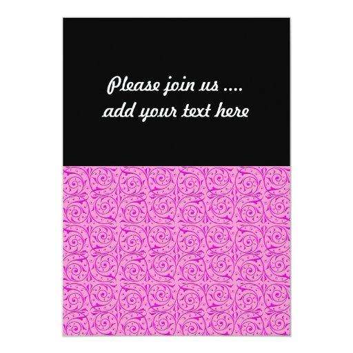 """Modelo rosado lindo de las vides de Swirly Invitación 5"""" X 7"""""""