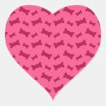 Modelo rosado lindo de los huesos de perro pegatina de corazon personalizadas