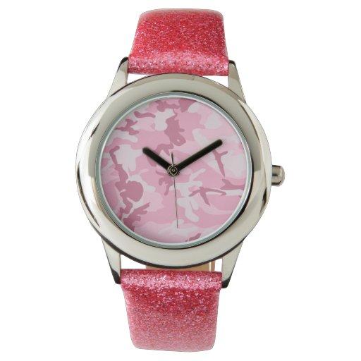Modelo rosado lindo del camuflaje del vintage relojes de pulsera