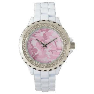Modelo rosado lindo del camuflaje del vintage relojes